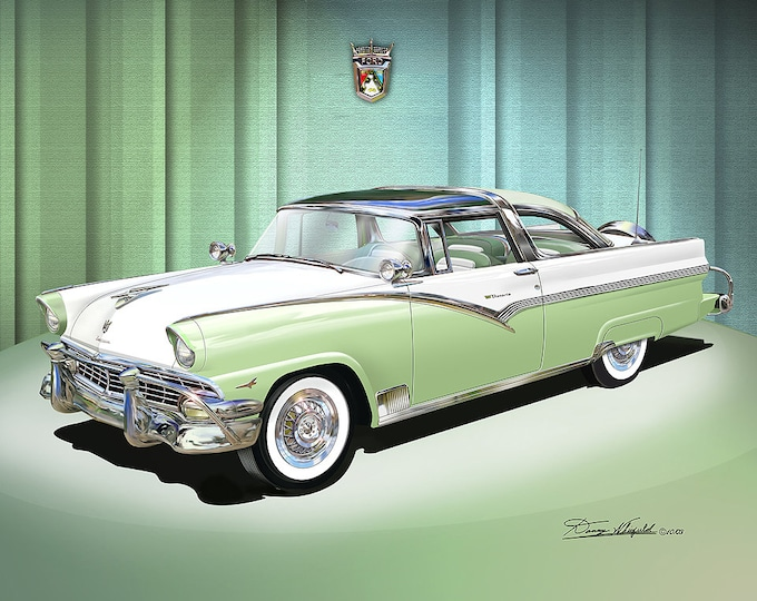 1956 Ford Fairlane  Art Prints comes in fore different colors
