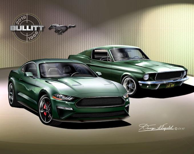 1968 -2019 Mustang Bullitt art prints