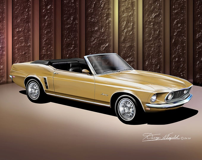 1969 Mustang Convertible Art Prints  comes in 6 different exterior color