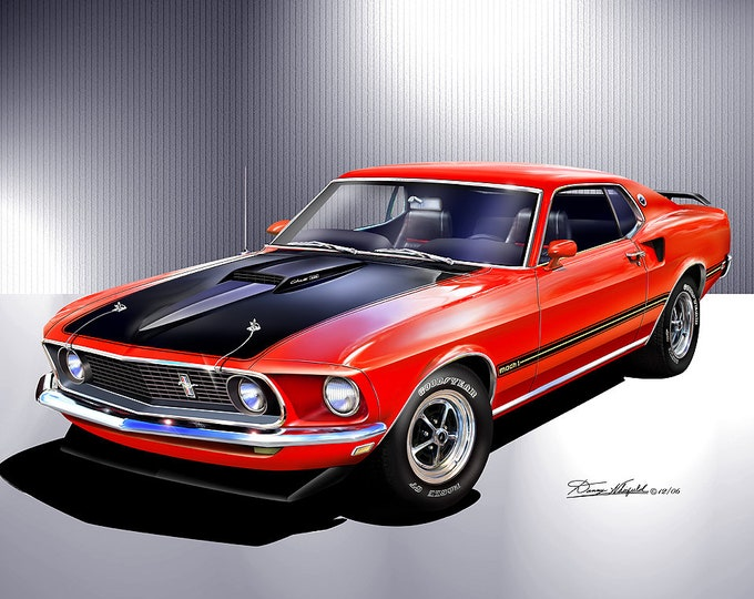1969 Mustang Mach 1 art prints  comes in 8 different exterior color
