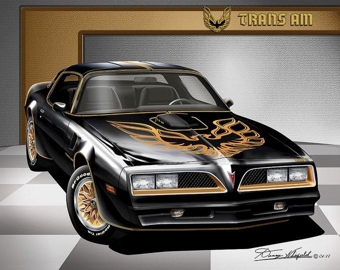 1977-1978 Pontiac Firebird Trans Am art prints comes in 10 different exterior color