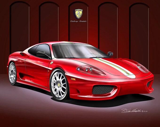 2004 Ferrari challenge stradale art print comes in 3 different colors