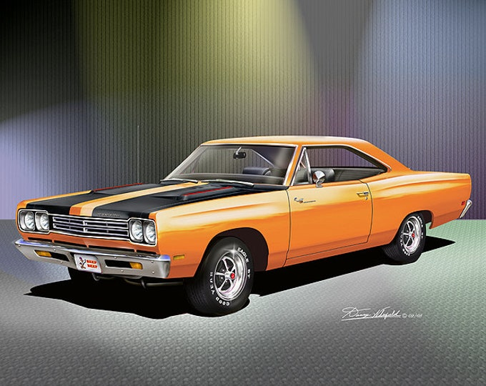 1969 Plymouth Road Runner  Art Prints  comes in 4 different exterior colors