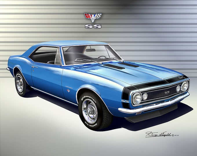 1967 Chevrolet Camaro Art Prints comes in 4 different exterior colors