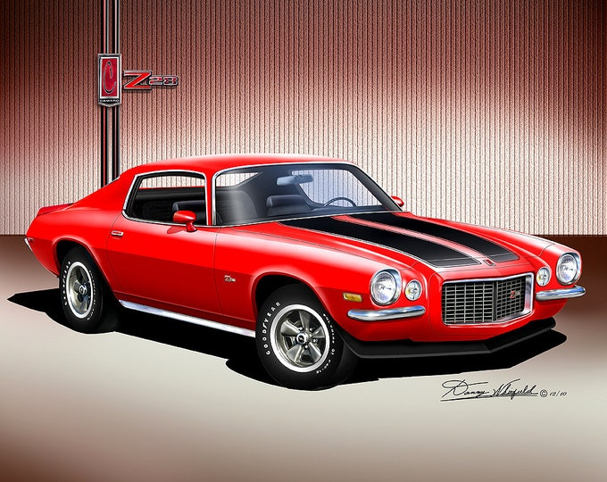 1970 Chevrolet Camaro Art Prints comes in 10 different exterior colors