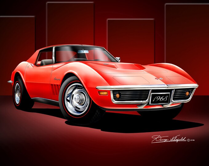 1968 Corvette art prints comes in 3 different exterior colors