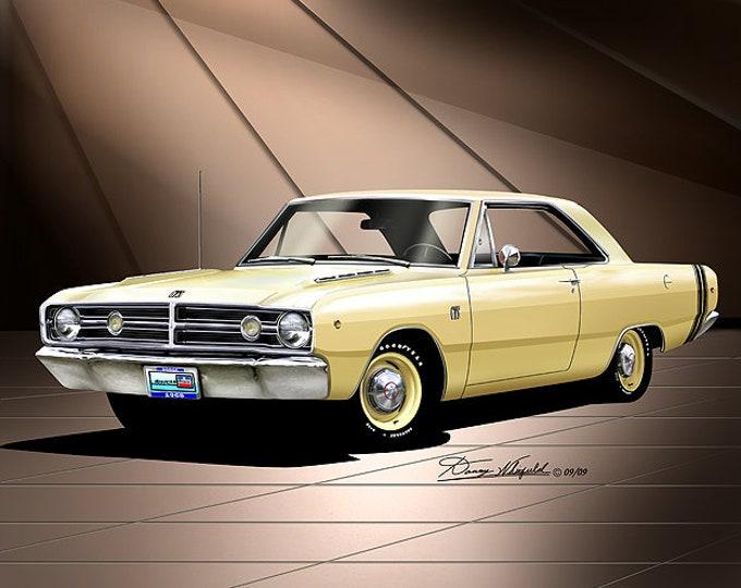 1968 Dodge Dart art prints comes in 10 different exterior colors