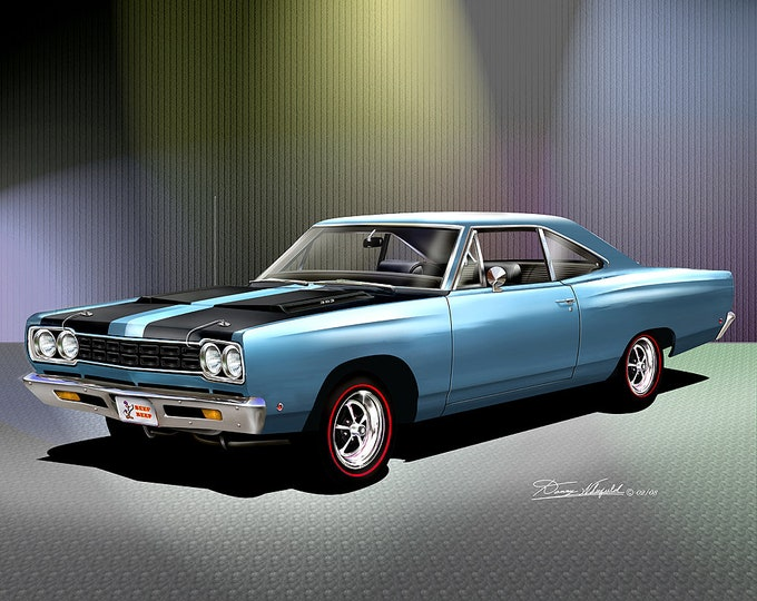 1968 Plymouth Road Runner  Art Prints  comes in 4 different exterior colors