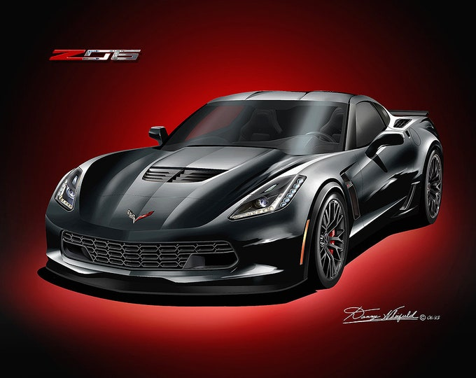 2014-2019 Corvette ZO6 art prints comes in 10 different exterior colors
