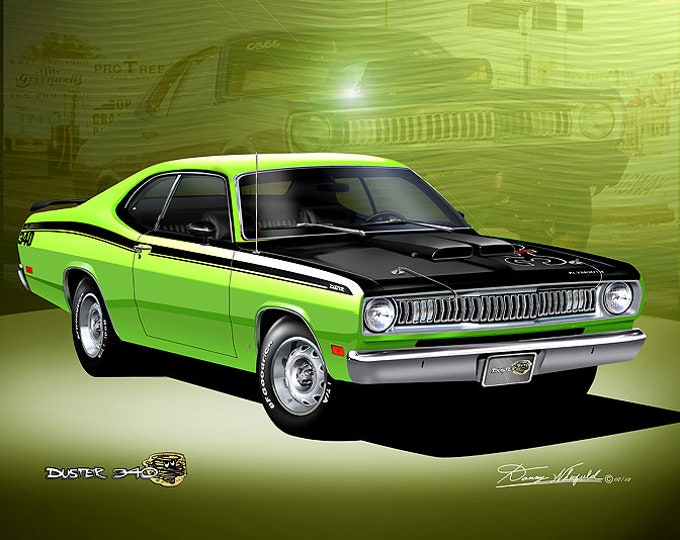 1972 Plymouth Duster 340  Art Prints  comes in 4 different exterior colors