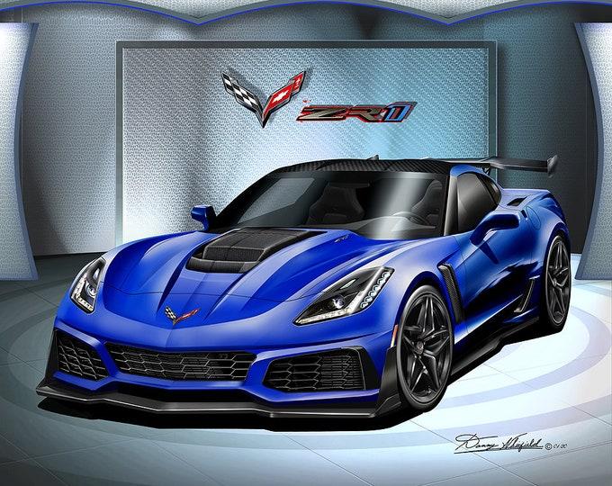 2019 Corvette ZR1 art prints comes in 10 different exterior colors