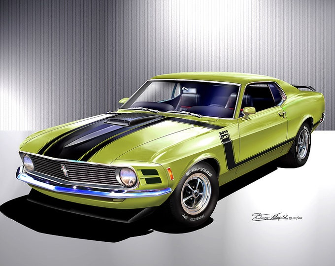 1970 Mustang Boss 302 Art Prints  comes in 6 different exterior color