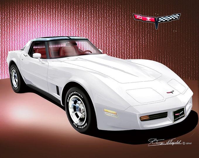 1981 Corvette art prints comes in 9 different exterior colors