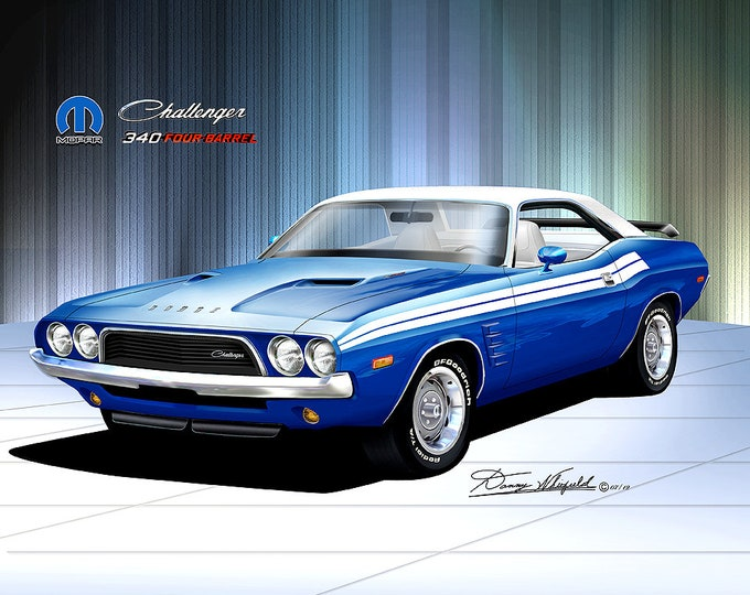 1972-1973 Dodge Challenger  Art Prints  comes in 10 different exterior colors