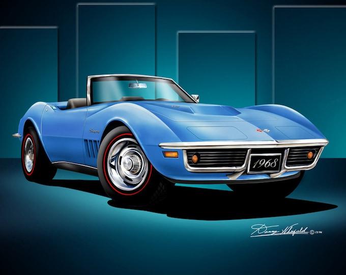 1968 Corvette Convertible art prints comes in 3 different exterior colors