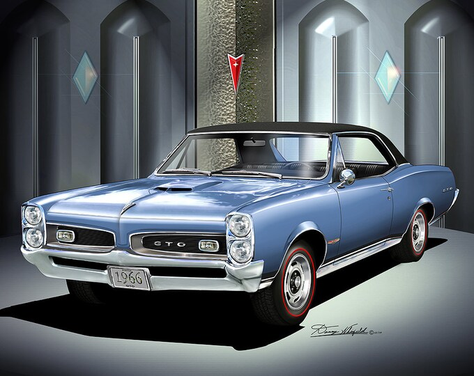 1966 Pontiac GTO art prints comes in 6 different exterior colors