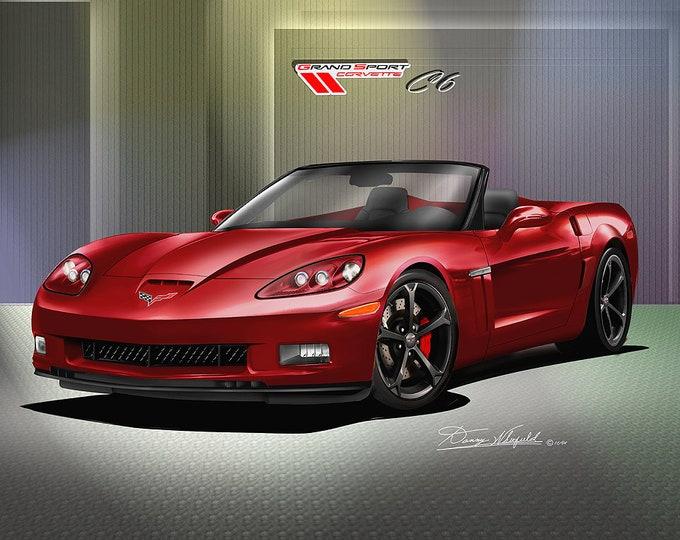 2011-2012 Corvette Grandsport convertible art prints comes in 6 different exterior colors