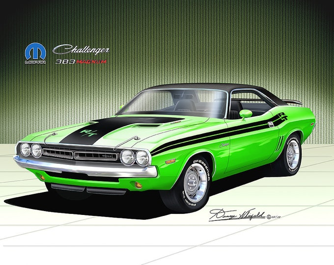 1971 Dodge Challenger art prints comes in 10 different exterior colors