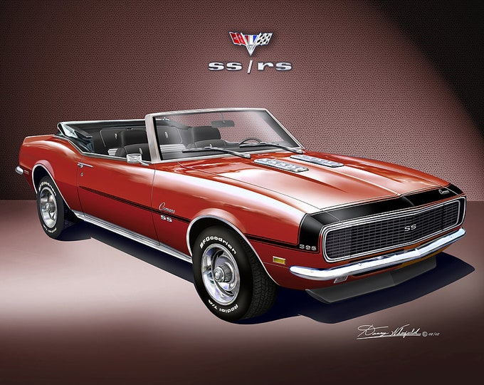 1968 Chevrolet Camaro convertible art print comes in 4 different exterior colors