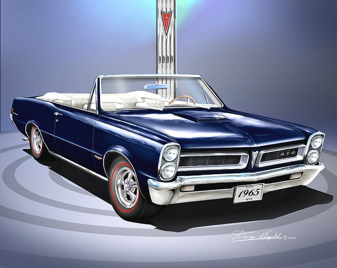 1965 Pontiac GTO Convertible art prints comes in 7 different exterior colors