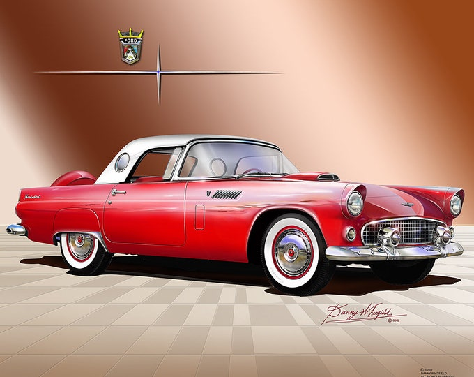 1956 Ford Thunderbird art prints comes in 4 different colors