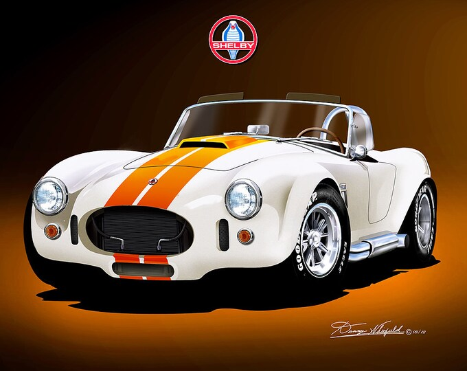 1965 Shelby Cobra 427 art prints comes in 9 different colors