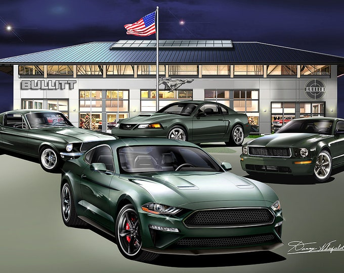 Ford Mustang Bullitt art prints comes in 4 Editions