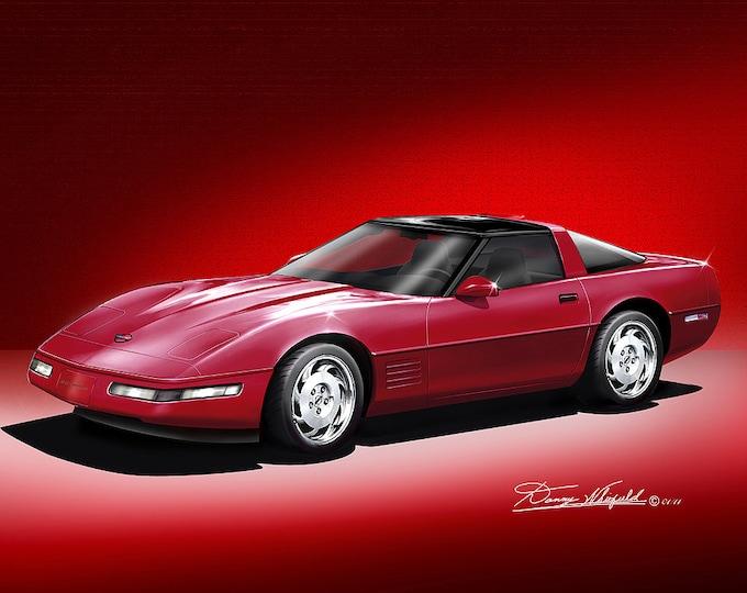 1990-1996 Corvette art prints comes in 5 different exterior colors