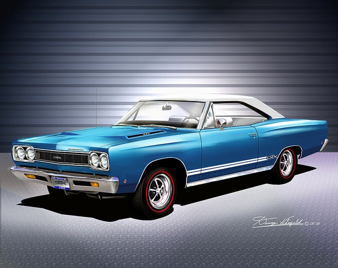 1968 Plymouth GTX  Art Prints  comes in 10 different exterior colors