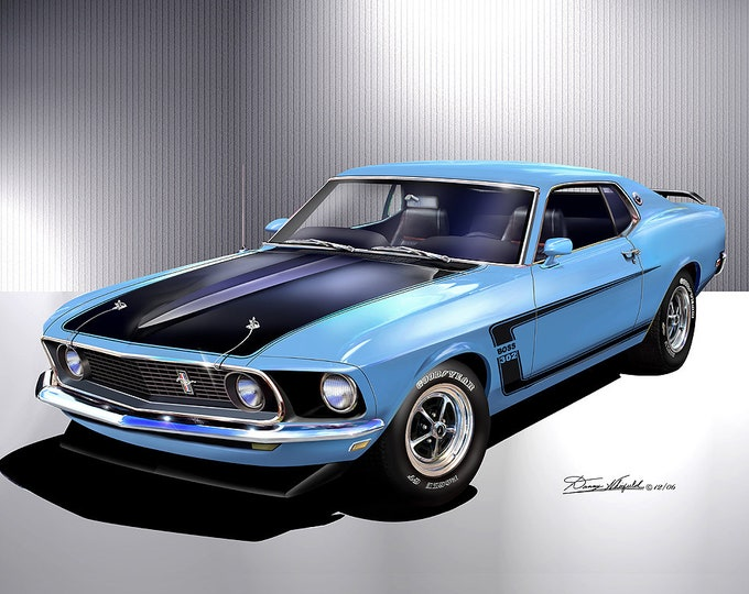 1969 Mustang Boss 302 art prints  comes in 4 different exterior color