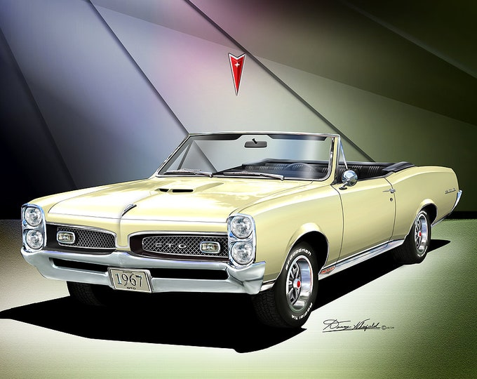 1967 Pontiac GTO Convertible art prints comes in 6 different exterior color