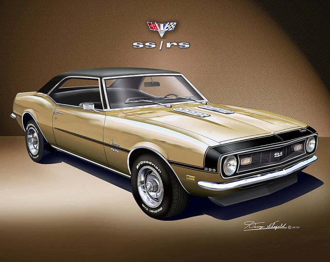 1968 Chevrolet Camaro Art Prints comes in 4 different exterior colors