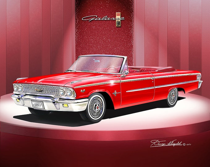 1963 Ford Galaxie convertible art prints comes in 5 different colors
