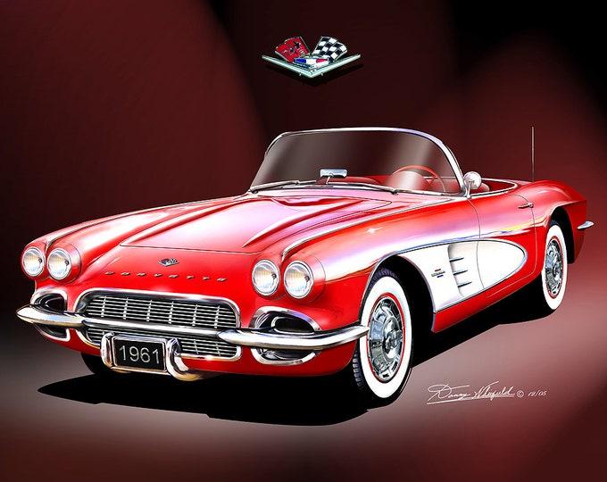 1961 Corvette convertible art prints comes in 4 different exterior colors