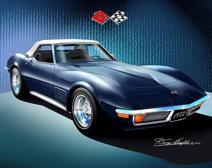 1972 Corvette Convertible art prints comes in 8 different exterior colors