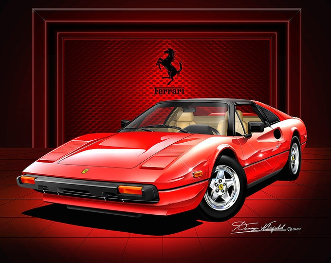 1980-1982 Ferrari 308 GTSI art prints comes with front and rear views