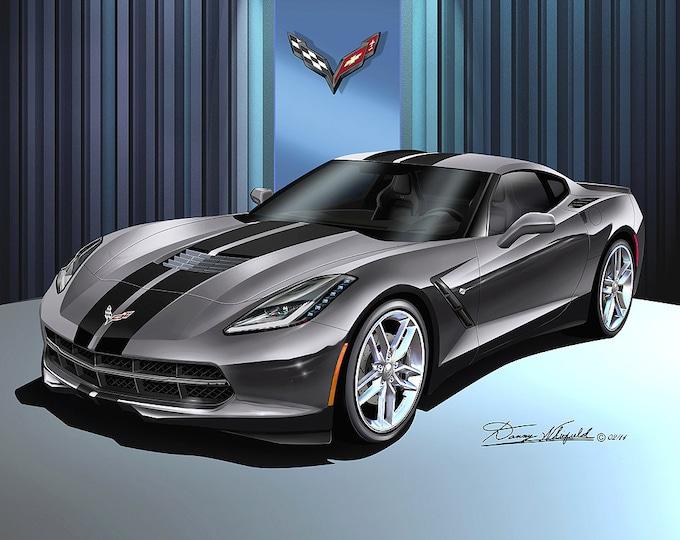 2014-2019 Corvette Stingray art prints comes in 6 different exterior colors
