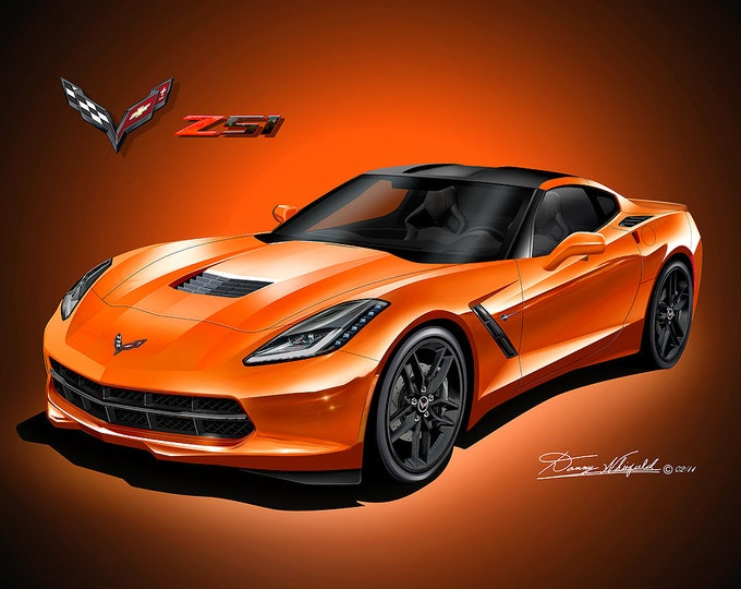 2014 2019 Corvette Z51 Art Prints  comes in 10 different exterior colors
