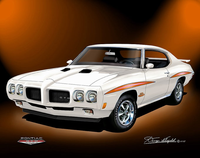 1970 Pontiac GTO art prints comes in 8 different exterior colors