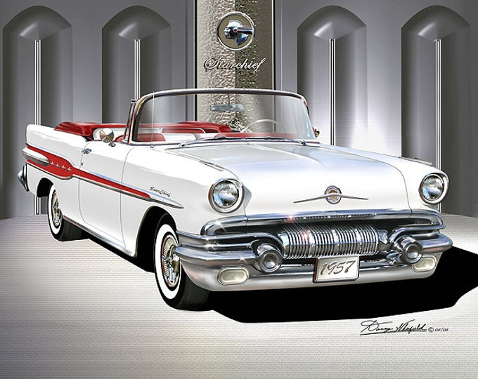 1957 Pontiac Star Chief Art Prints comes in 6 different exterior colors