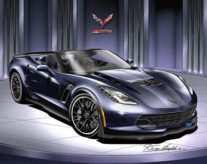 2014-2019 Corvette ZO6 convertible art prints comes in 10 different exterior colors