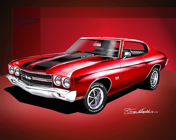 1970 Chevelle SS Art Prints comes in 10 different styles