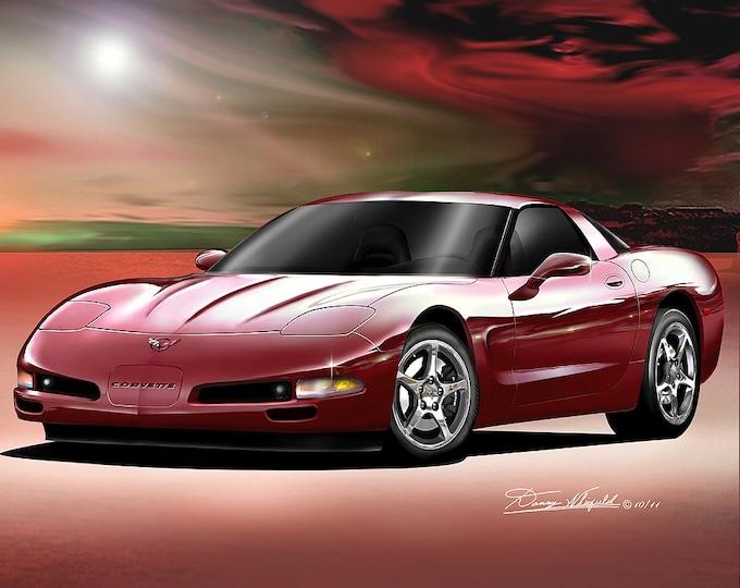 2004 Corvette art prints comes in 5 different exterior colors