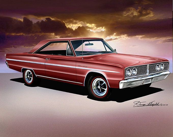 1966 Dodge Coronet art prints comes in 10 different exterior colors