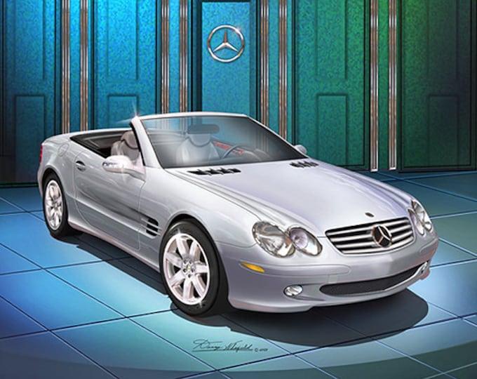 2005 Mercedes-Benz SL 500 art print comes in 2 different colors