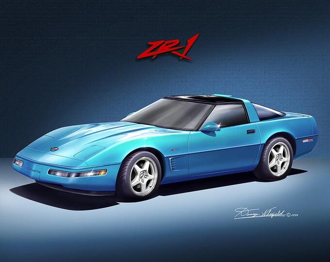 1994 Corvette ZR1 art prints comes in 3 different exterior colors