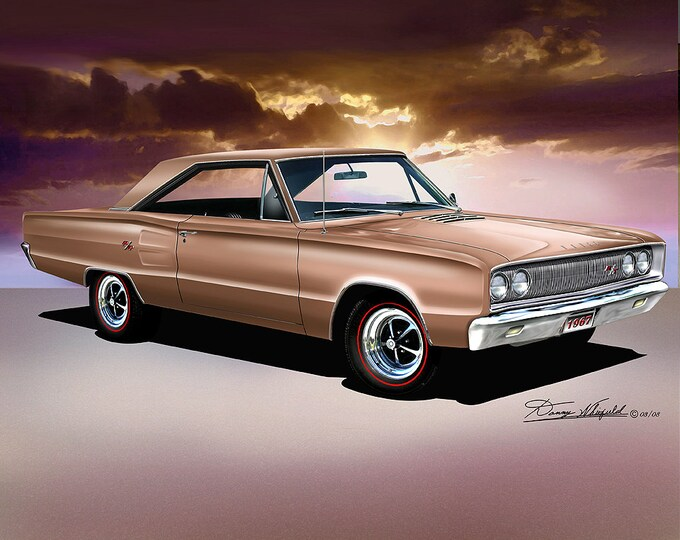 1967 Dodge Coronet art prints comes in 9 different exterior colors