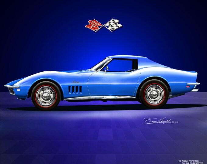 1968 Corvette Roadster art prints comes in 3 different exterior colors
