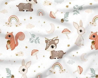 Woodland animal fabric, Baby fabric, Fabric for kids, Sewing supplies, Fabric sold by 0.5 metre, Cotton fabric, Woodland baby fabric