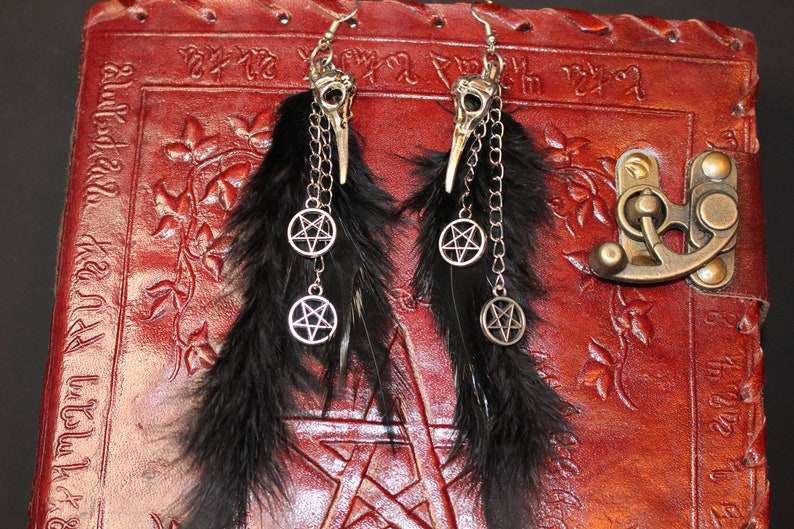 Feather Jewelry Gothic Jewelry Gothic Earrings Witch Jewelry Gothic Witch Witch Hexagon Pentagram Hexagram Wiccan Magic Spell Raven Feather Earrings